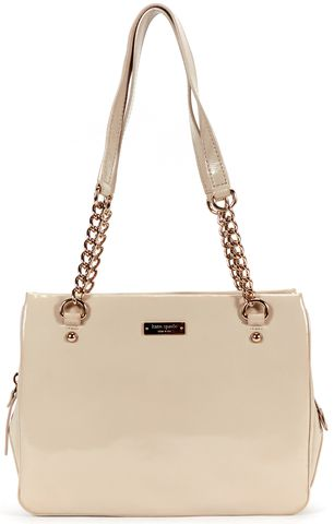 KATE SPADE Taupe Gray Patent Leather Chain Strap Shoulder Bag
