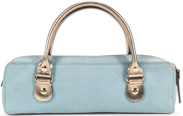 KATE SPADE Blue Pink Polka Dot Gold Top Handle Bag