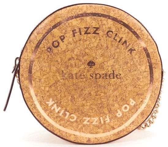 KATE SPADE Rose Gold Metallic Saffiano Leather Cork Circular Crossbody Bag