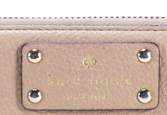 KATE SPADE Beige Leather Zip Around Continental Wallet