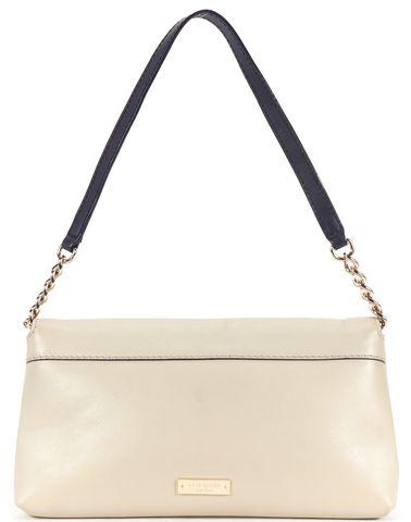 KATE SPADE Beige Navy Leather Bow Embellished Shoulder Bag
