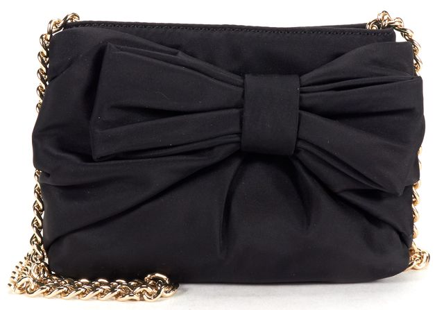 KATE SPADE Black Nylon Gold Chain Bow Detail Small Crossbody Bag