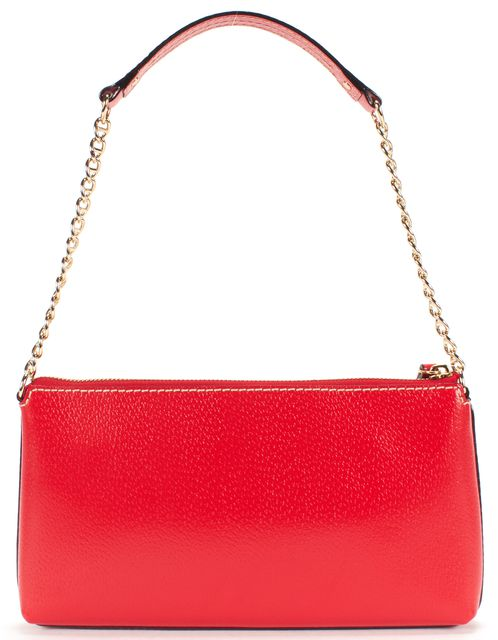KATE SPADE Red Gold Chain Leather Shoulder Bag