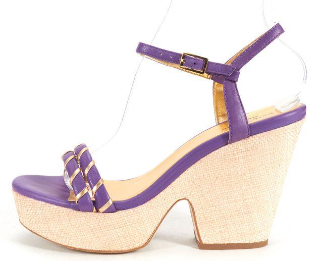 KATE SPADE Purple Gold Leather Ankle Strap Platform Heel Sandals