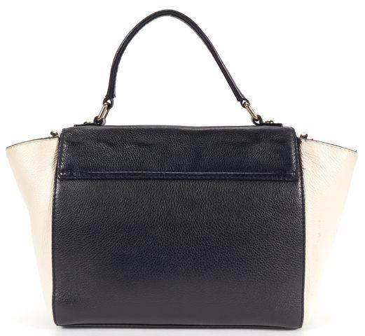 KATE SPADE Black Ivory Leather Top Handle Satchel Crossbody Bag