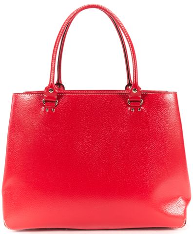 KATE SPADE Red Leather Contrast Stitch Large Tote