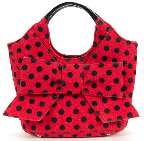 KATE SPADE Red Black Polka Dot Bow Detail Handbag