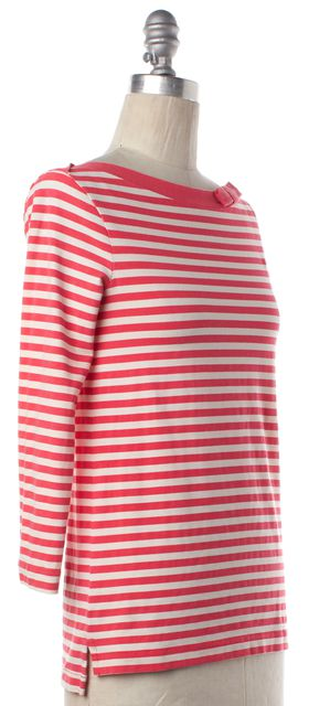 KATE SPADE Pink Ivory Striped 3/4 Sleeve Boat Neck Basic Tee Top