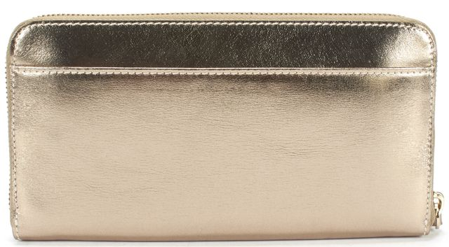 KATE SPADE Gold Leather Continental Zip Around Wallet
