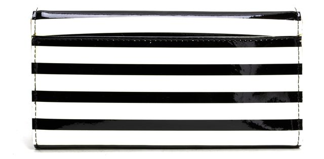 KATE SPADE Black White Striped Patent Leather Wallet