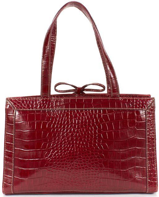 KATE SPADE Deep Red Croc Embossed Leather Shoulder Bag