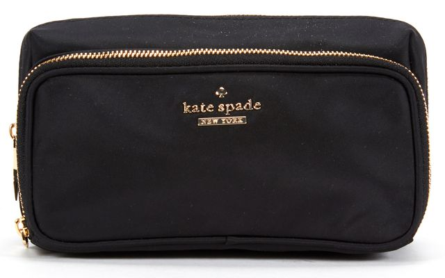 KATE SPADE Black Fabric Pouch Cosmetic Bag
