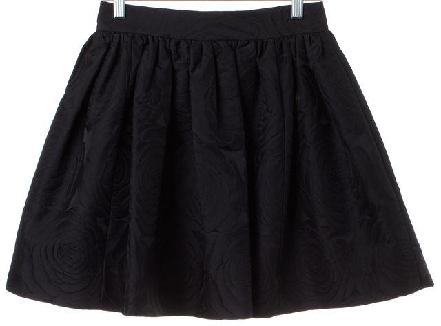 KATE SPADE Black Floral Print Pleated A-Line Skirt