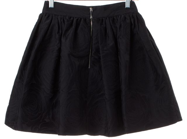 KATE SPADE Black Floral Print Pleated A-Line Skirt