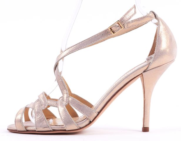 KATE SPADE Pink Champagne Metallic Leather Cris Cross Heel Sandals