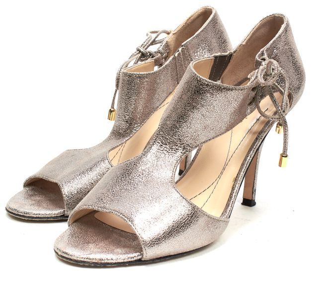 KATE SPADE Silver Metallic Textured Leather Sandals