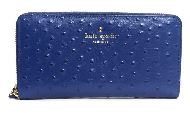 KATE SPADE Blue Ostrich Embossed Leather Continental Wallet
