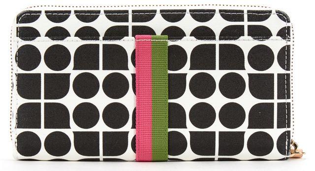 KATE SPADE Black White Geometric Print Zip Around Wallet