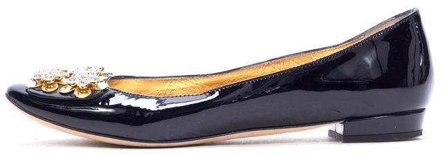 KATE SPADE Black Patent Leather Gold Floral Embellished Flats