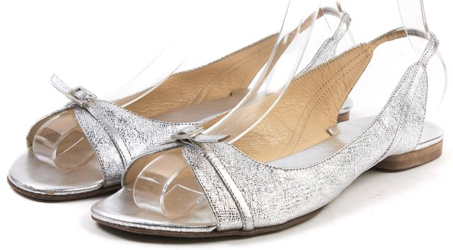KATE SPADE Silver Leather Slingback Sandals