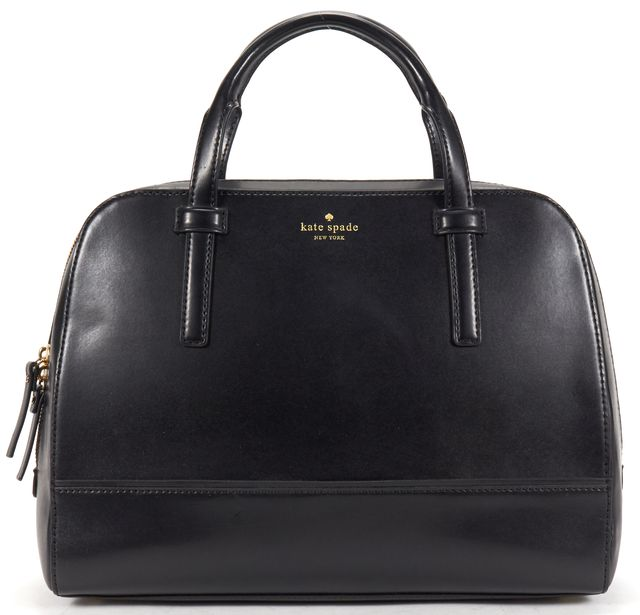 KATE SPADE Black Leather Structured Top Handle Bowler Bag
