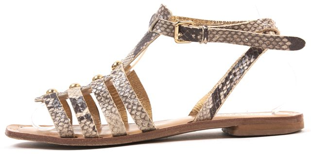 KATE SPADE Gray Snake Embossed Leather Sandals