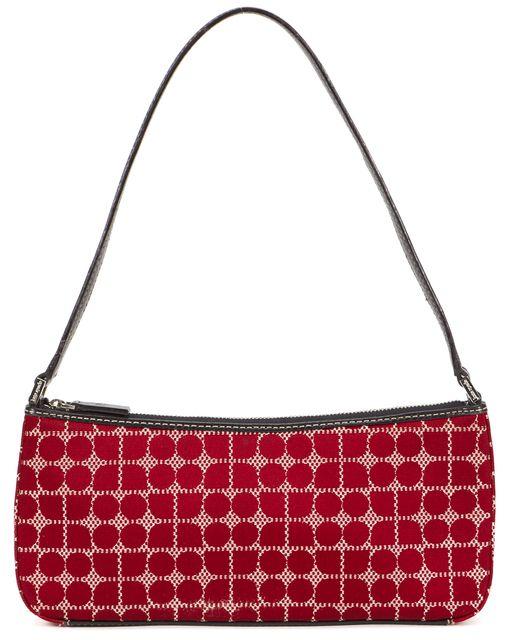 KATE SPADE Red Black Geometric Canvas Shoulder Bag