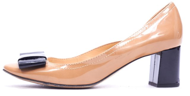 KATE SPADE Beige Patent Leather Bow Tie Toe Heeled Loafer