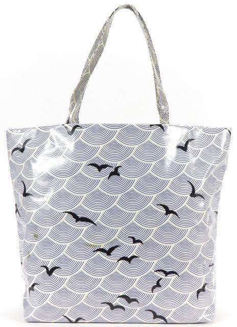 KATE SPADE Blue White Bird Print Coated Canvas Tote Bag