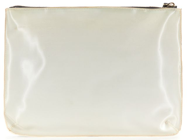 KATE SPADE Gray White Wink Hologram Zip Top Clutch