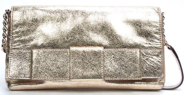 KATE SPADE Gold Metallic Leather Convertible Clutch Shoulder Bag