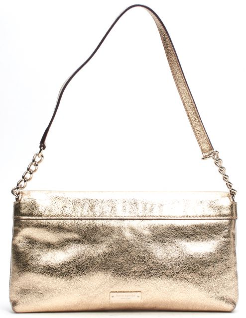 KATE SPADE Gold Metallic Leather Convertible Clutch Shoulder Bag