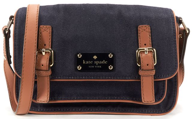 KATE SPADE Blue Brown Canvas Leather Crossbody Bag