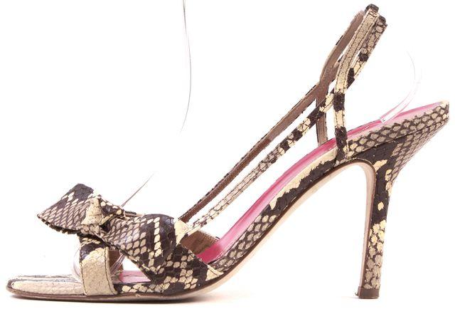 KATE SPADE Beige Snake Embossed Leather Slingback Sandal Heels