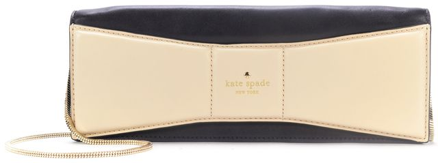 KATE SPADE Black Ivory Leather Clutch with Shoulder Chain