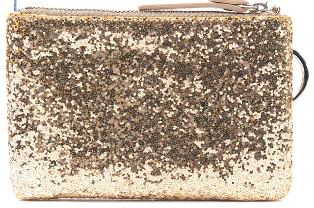 KATE SPADE Gold Glitter with Key Chain Small Pouch