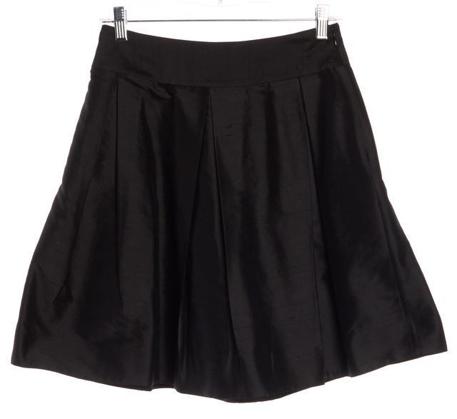 KATE SPADE Black Raw Silk Holly Above Knee Pleated A-Line Skirt