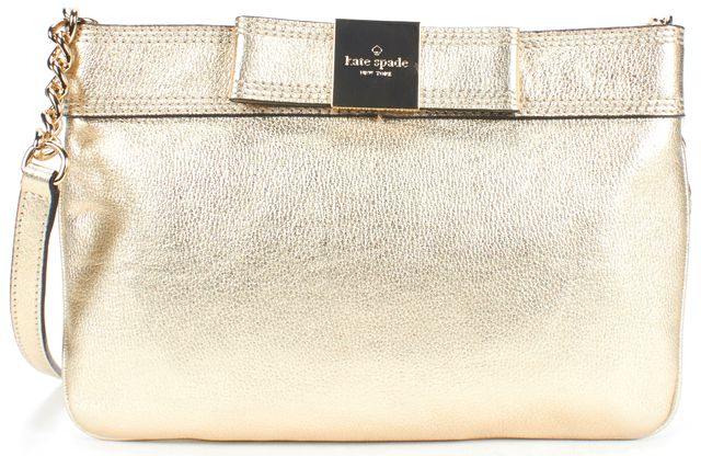 KATE SPADE Metallic Gold Leather Gold Chain Crossbody Bag