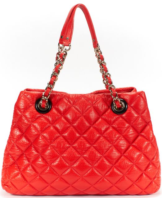 KATE SPADE Red Quilted Leather Gold Chain Shoulder Bag