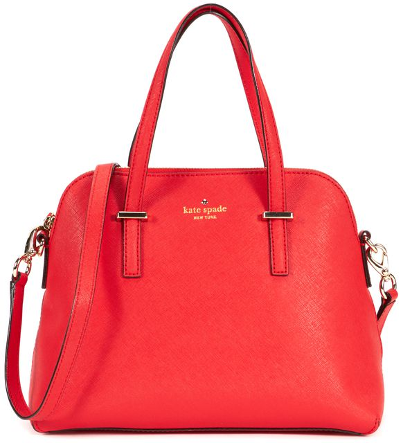 KATE SPADE Red Saffiano Leather Shoulder Strap Cedar Street Maise Satchel