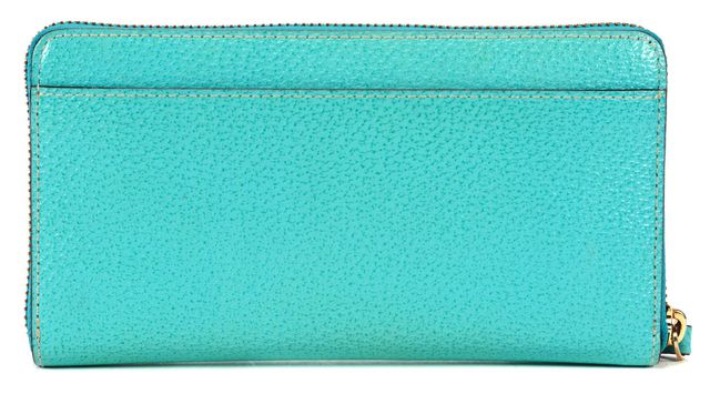 KATE SPADE Turquoise Blue Textured Leather Zip Around Continental Wallet