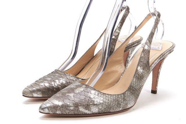 KATE SPADE Gray Metallic Snakeskin Embossed Leather Slingback Heels