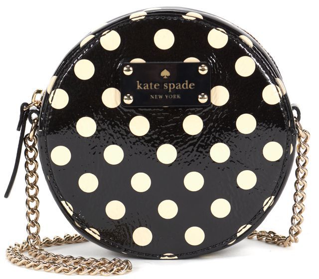 KATE SPADE Black White Polkadot Patent Leather Round Crossbody Shoulder Bag