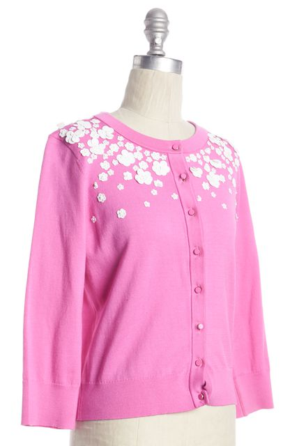 KATE SPADE Pink White Floral Sequin Embellished Cardigan Sweater
