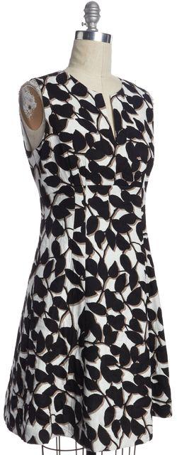 KATE SPADE Ivory Black Abstract Floral Print Fit & Flare V-Neck Dress