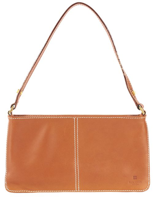 KATE SPADE Tan Brown Leather Contrast Stitch Small Shoulder Bag