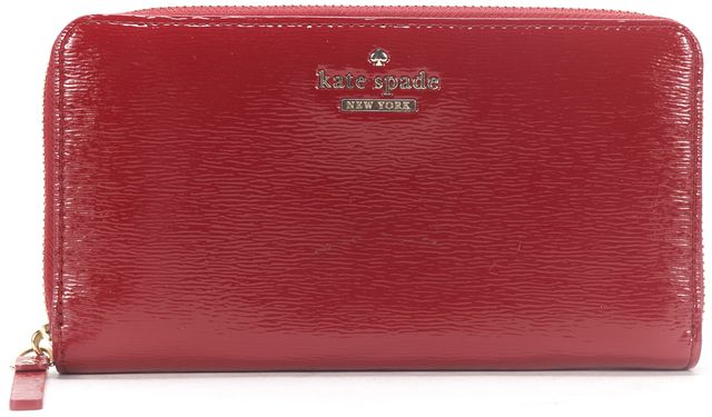 KATE SPADE Red Patent Leather Lacey Zip Around Wallet