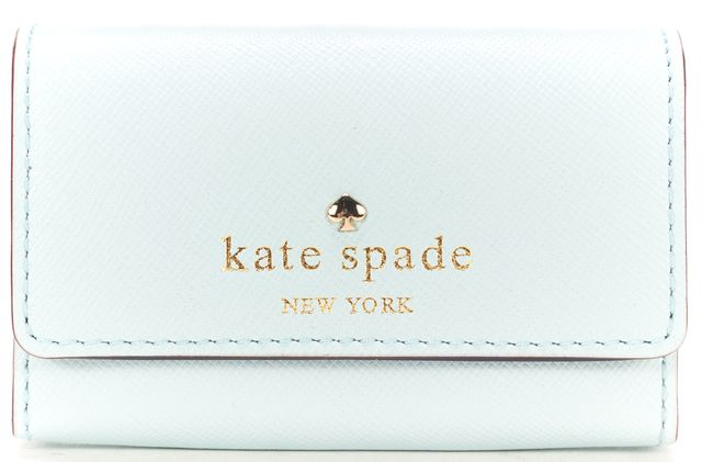 KATE SPADE Baby Blue Saffiano Leather Mikas Pond Holly Card Holder