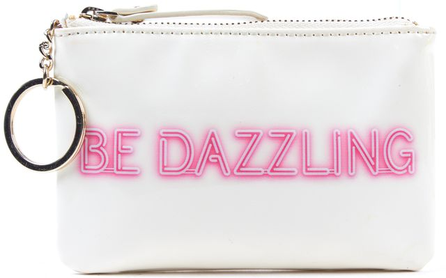 KATE SPADE Cream Patent Leather Be Dazzling Pink Logo Keychain Coin Purse