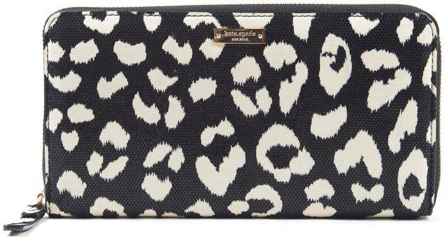 KATE SPADE Black Ivory Leopard Print Zip Continental Wallet